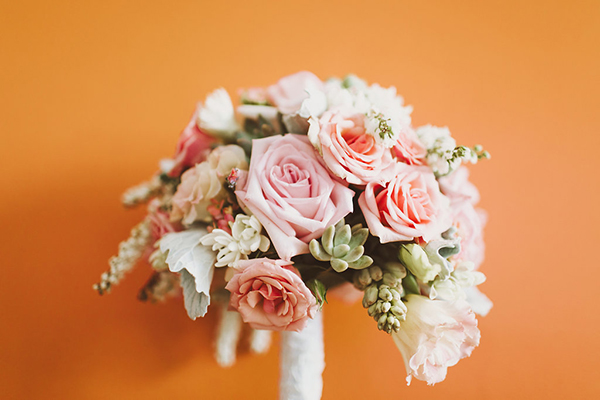 Gorgeous pink wedding bouquet with succulents. So pretty!