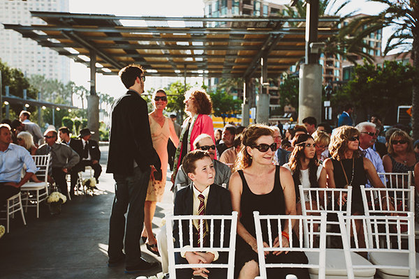 guests at a whimsical museum wedding