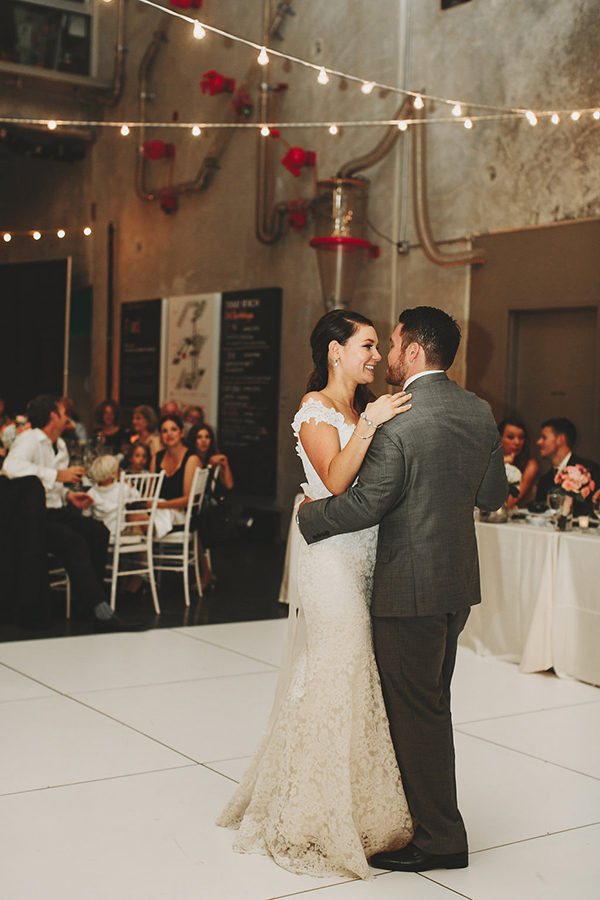 Beautiful bride and groom first dance photo