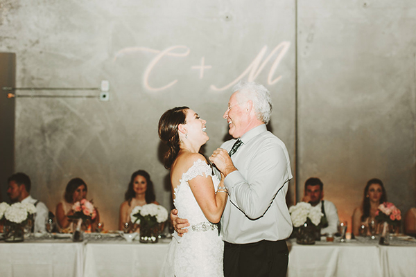 Sweet photo of the bride and her father for the first dance