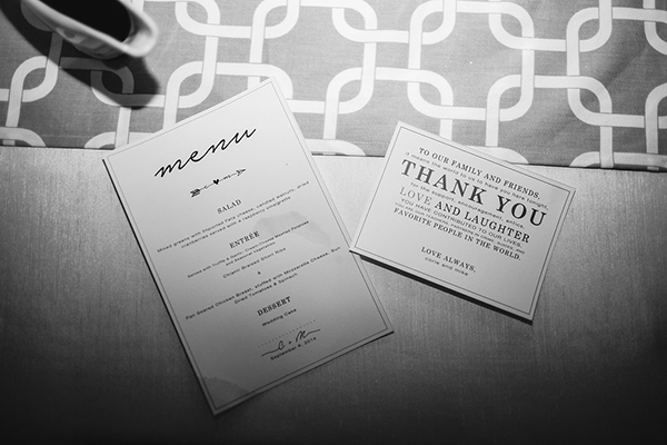 Sweet and simple wedding menu idea and thank you card for guests