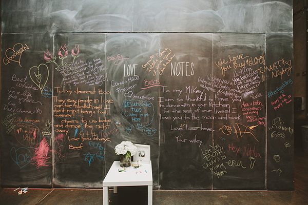 Cool chalkboard wall to leave notes for the bride and groom
