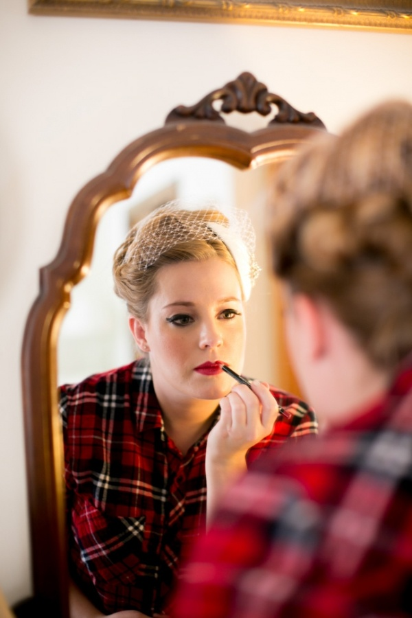 Bride putting on makeup on her wedding day!