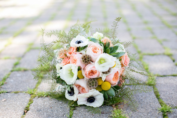 Stunning pink, yellow and white wedding bouquet!
