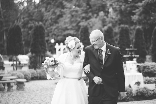 Stunning bride with her father, walking down the aisle!