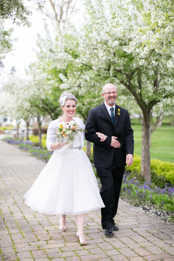 Beautiful vintage 50's garden party themed wedding! Father of the bride walking his daughter down the aisle!