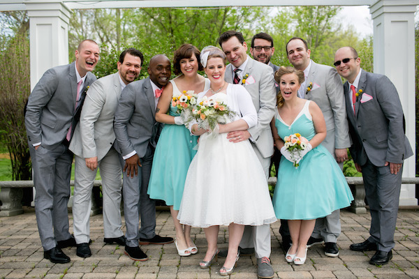 Bride and groom with their bridal party at their 50's vintage style wedding!