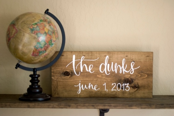 Gorgeous painted art sign for a newlywed couple