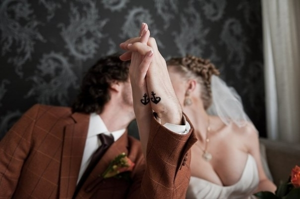 Matching couple tattoos for the bride and groom. So sweet! Would you get inked for your special someone?