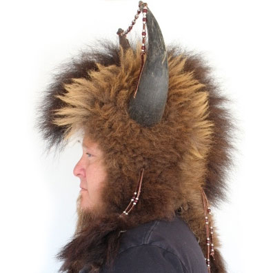 Buffalo Mountain Man Fur Hat with Horns
