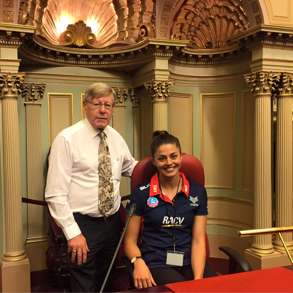 Bruce with Chloe Watson from the Melbourne Vixens