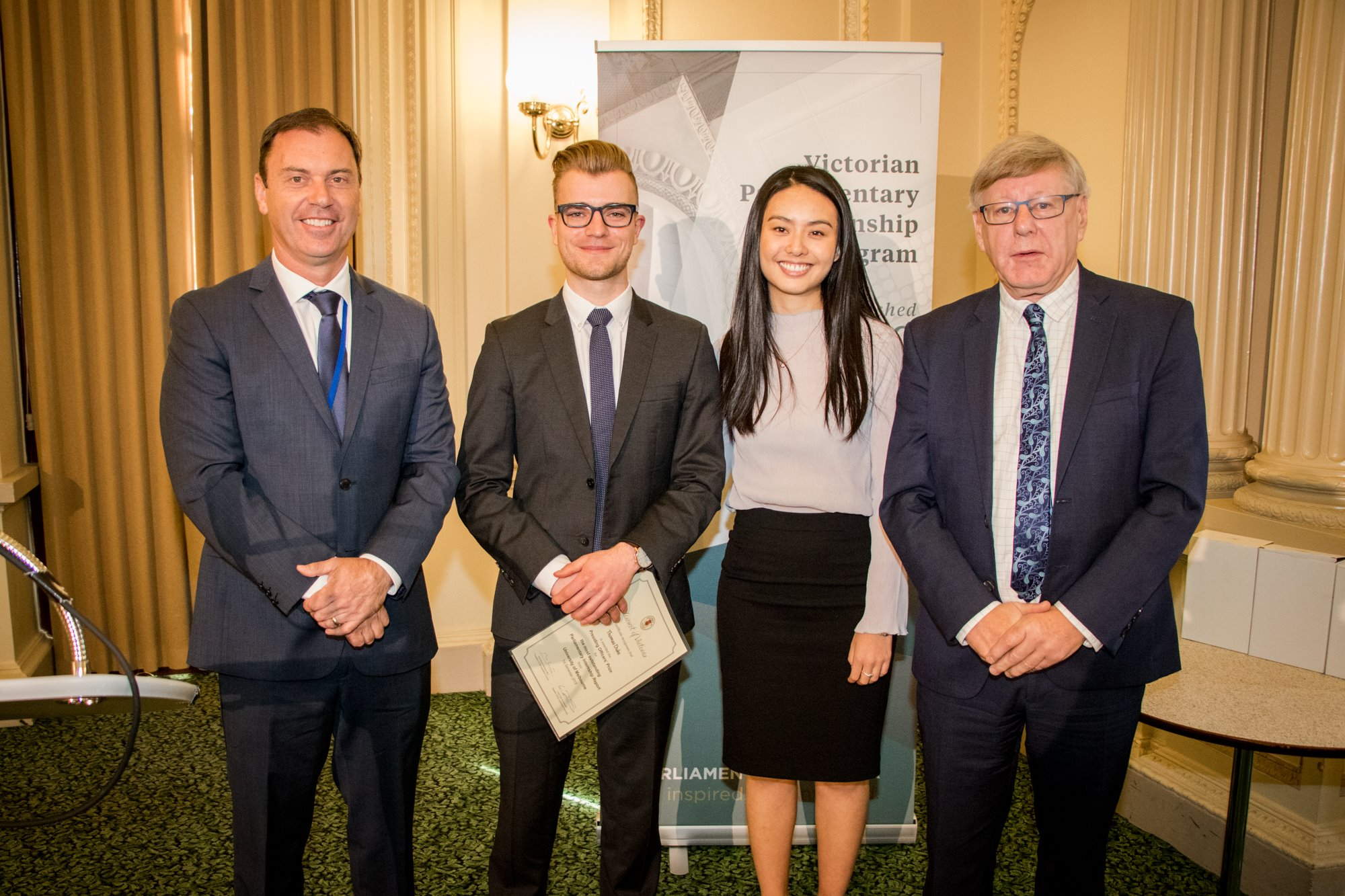 Thomas Duke from The University of Melbourne and Emily Tang from Monash University received the Presiding Officers' Prize for most outstanding internship reports in 2018