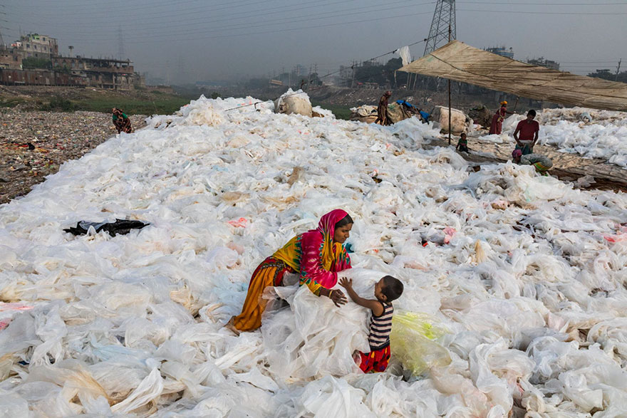 Clear plastic trash on the banks of Buriganga River, Dhaka, Bangladesh