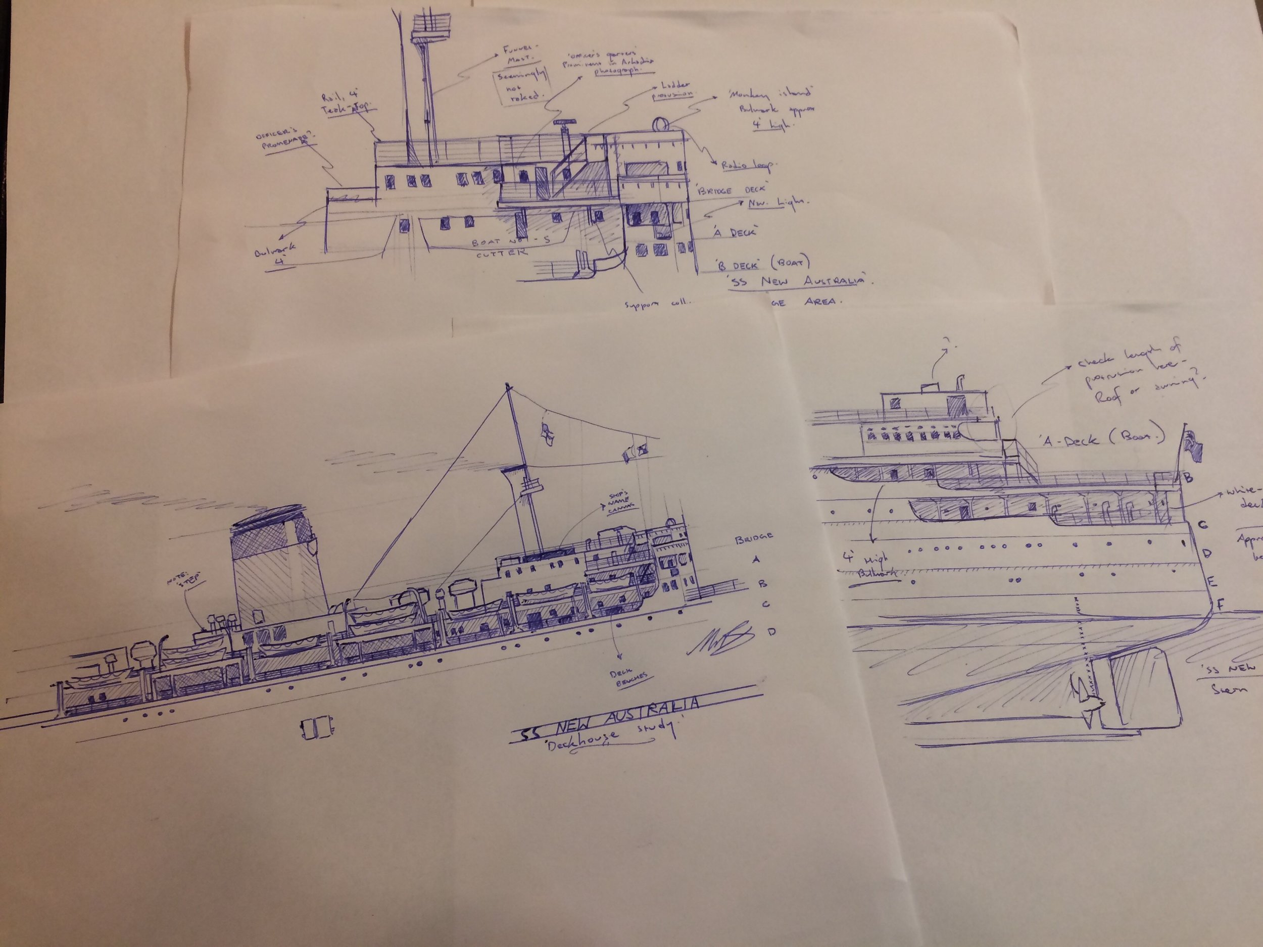 When blueprints and plans are unavailable, hand sketches based on photographs help to clear up the complex structures of the ship before I begin drawing it on the computer.