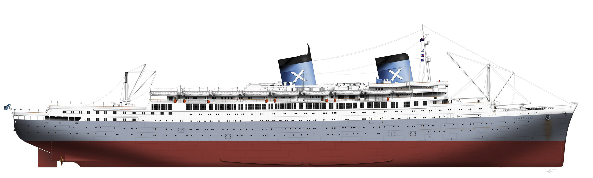 A week or more of drawing and the ship is ready! In this case, the SS Australis of Chandris Lines.