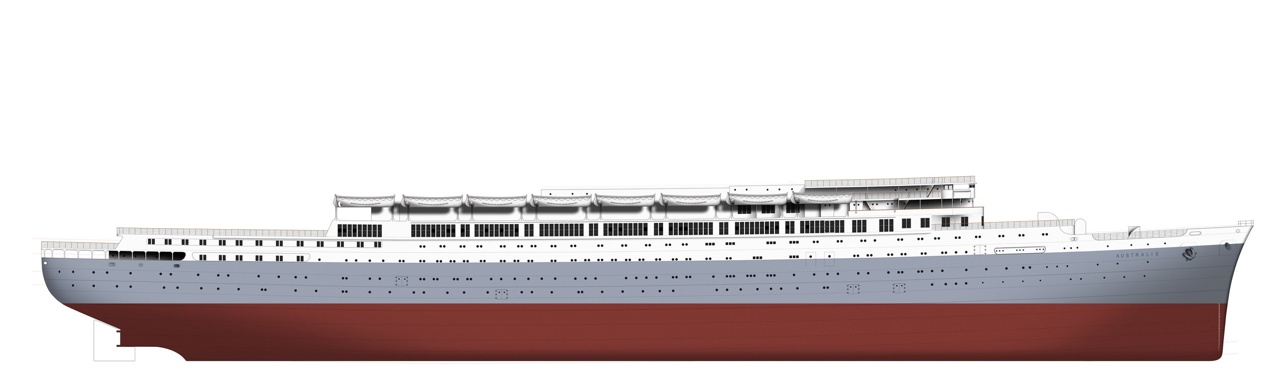 Some days later and the hull is complete - now the complex deck structures and passenger accommodation can be 'built' on top.