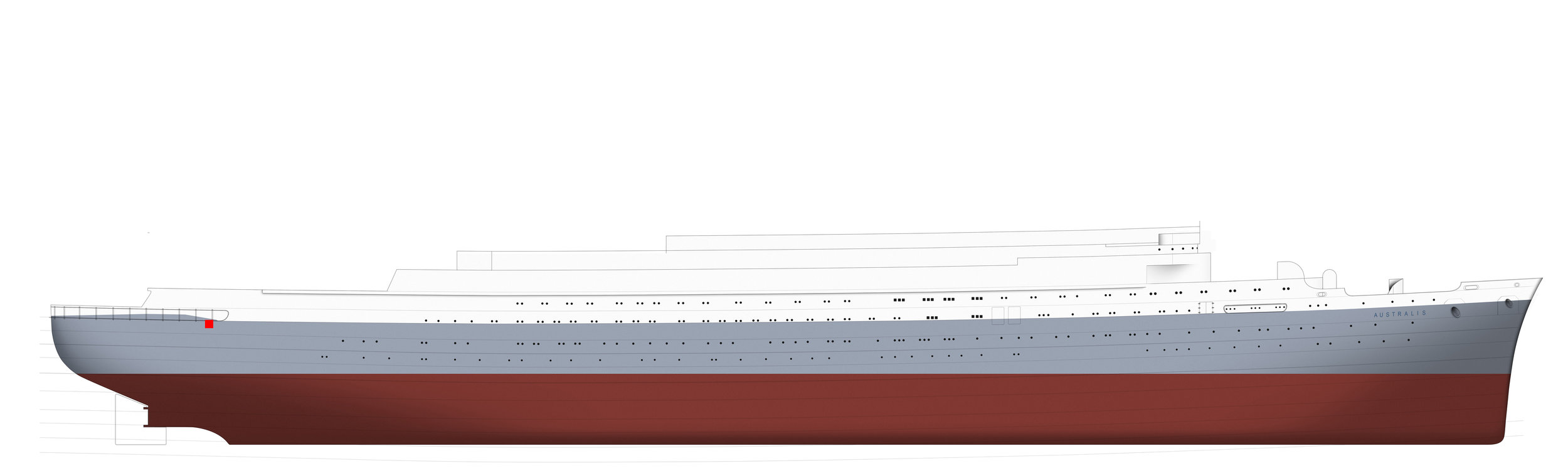 After a few days of drawing, the vessel's basic shape is complete and I can begin placing doors, portholes and hull plates.