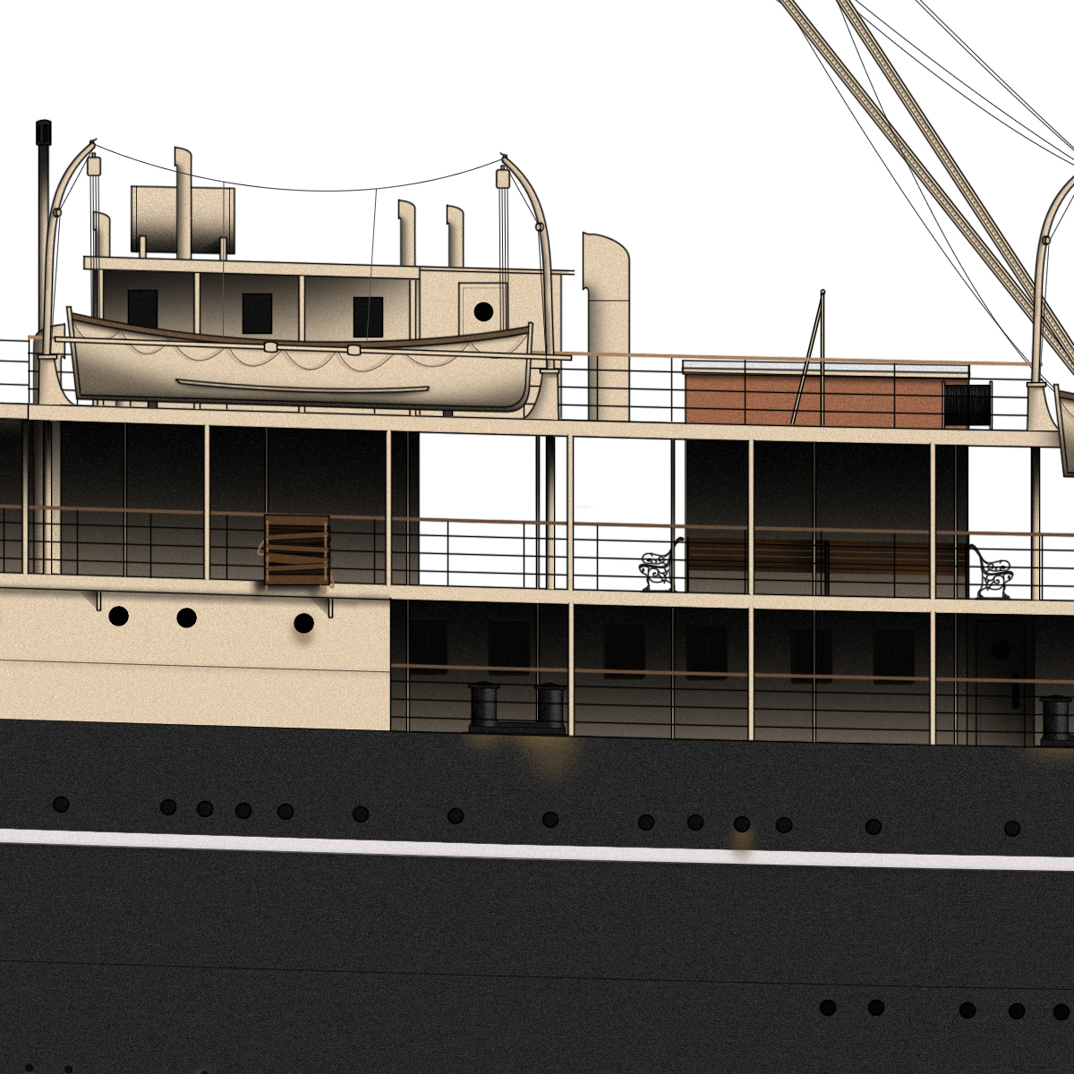 Details of RMS Mooltan drawing by Liner Designs.  Learn More
