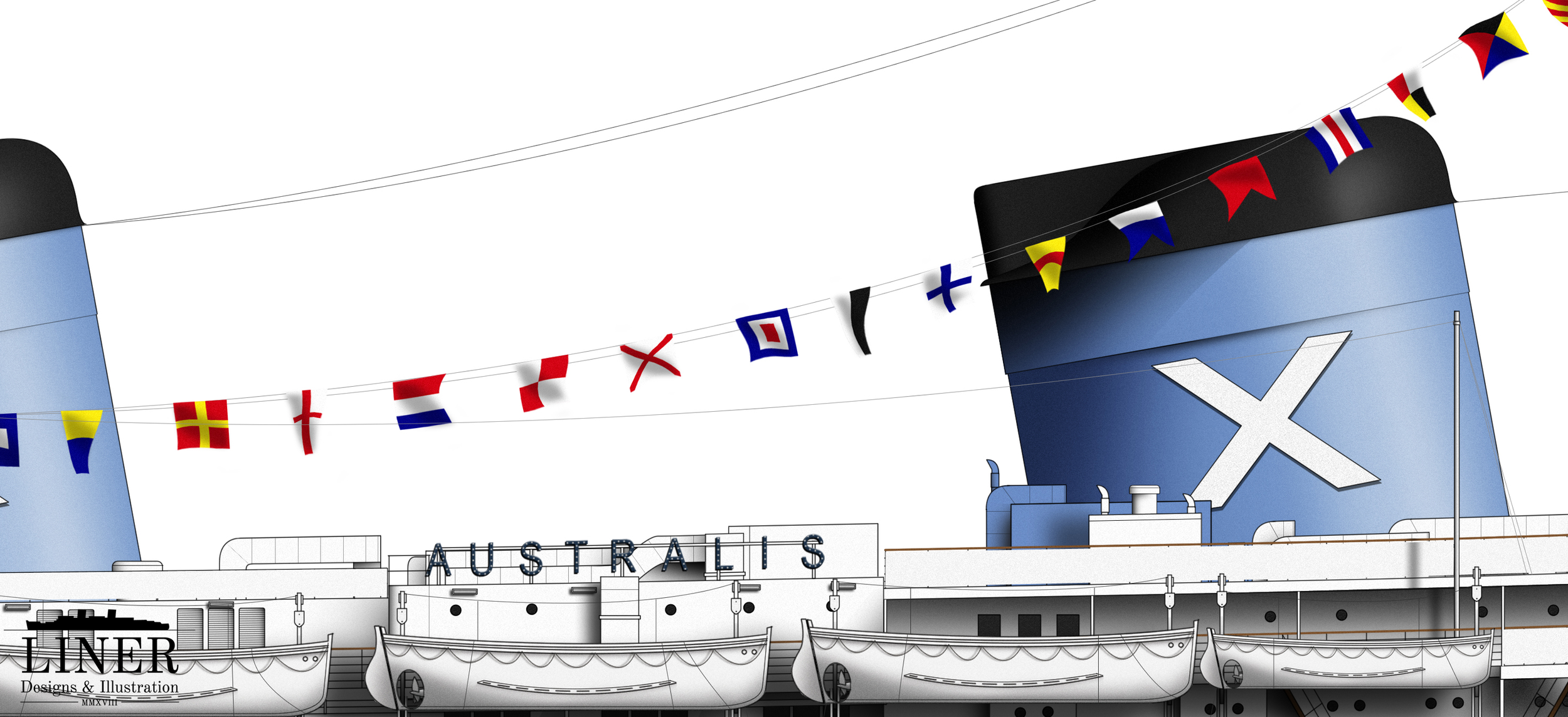It was common practice, when arriving at a foreign destination, to fly decorative flags from the signal halyards stretching across the boat deck.