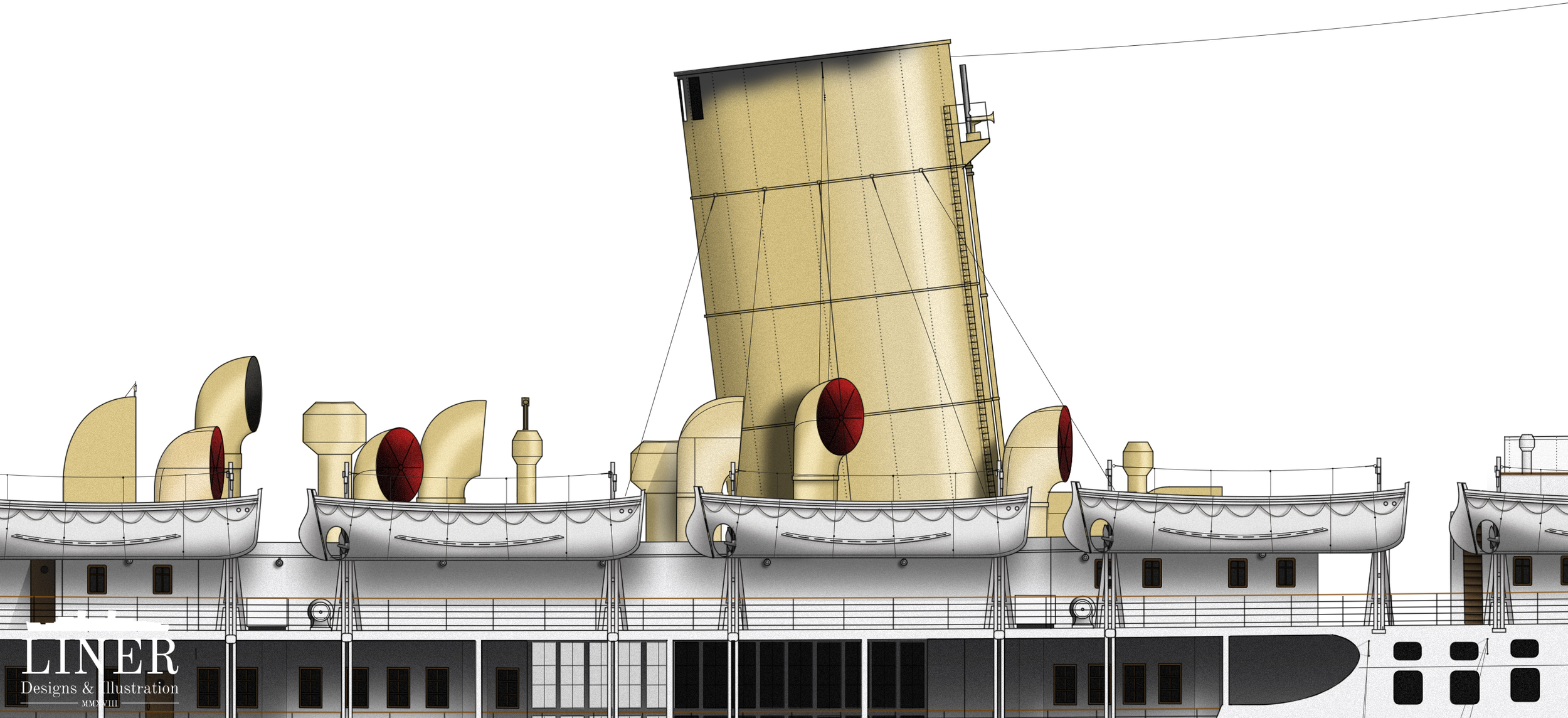 The base of Strathnaver's single funnel. She was originally launched with three shorter ones but in an attempt to modernize, P&O replaced these with one taller type.