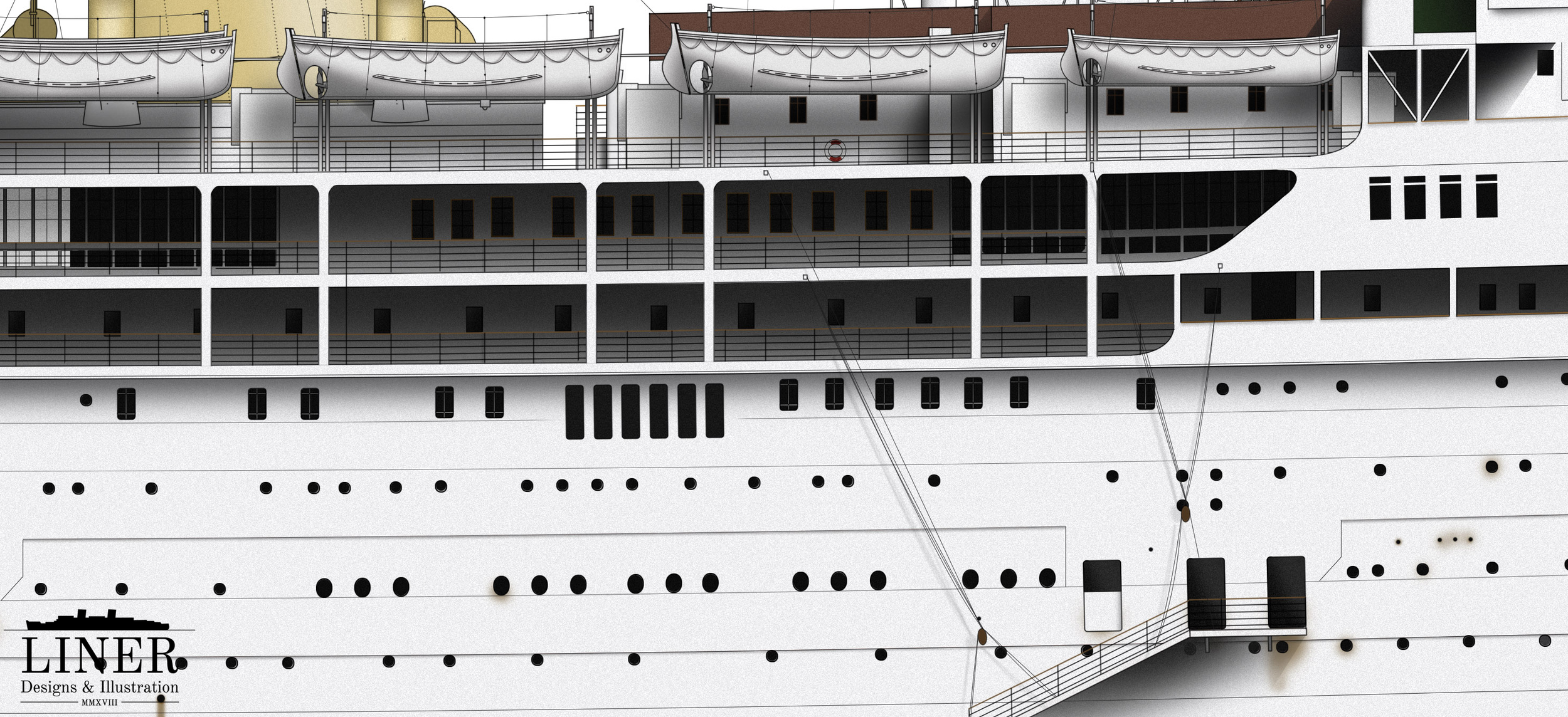 A section of Stratheden's hull showing window arrangements and promenades. Note the gangway doors at the lower right which could be opened fully or halfway to allow for ventilation while cruising in the tropics.