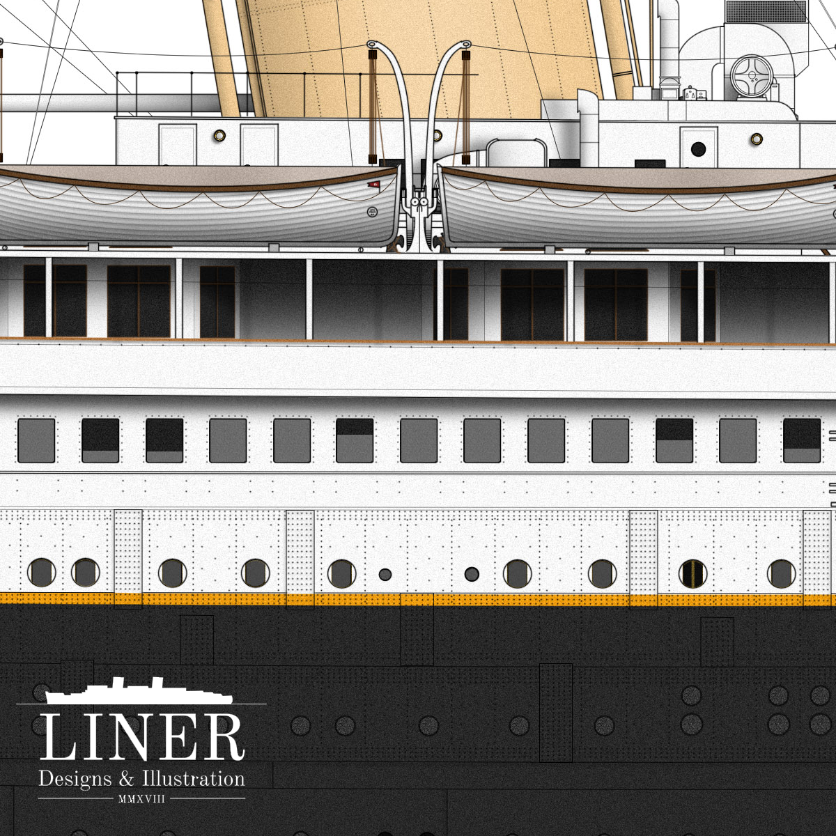 The base of No. 4 funnel showing hull details. Note the half-opened sliding windows along the ship's side.
