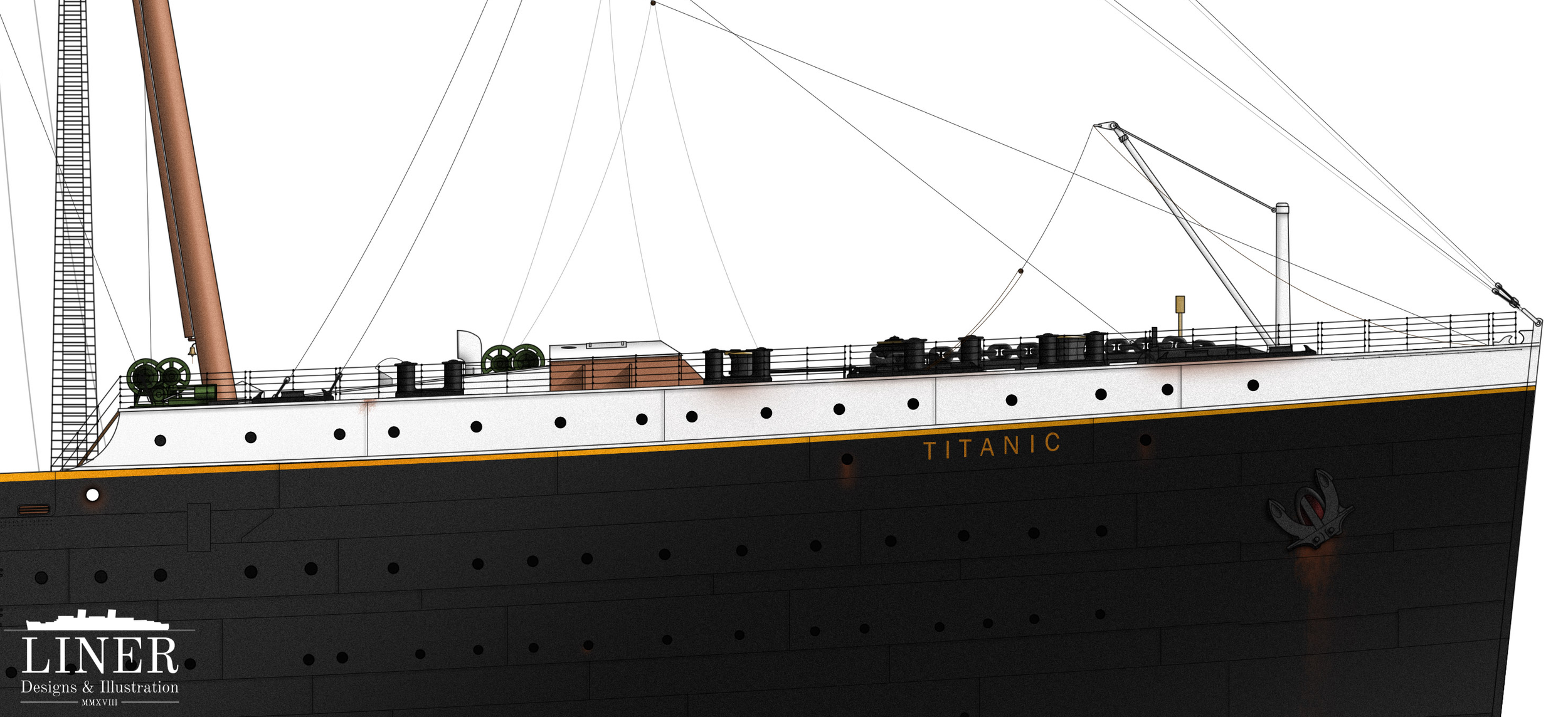 Titanic's forecastle deck, made famous in the 1997 film. In reality, passengers were not allowed forward of the cargo hatch (brown rectangular structure located in the center.)
