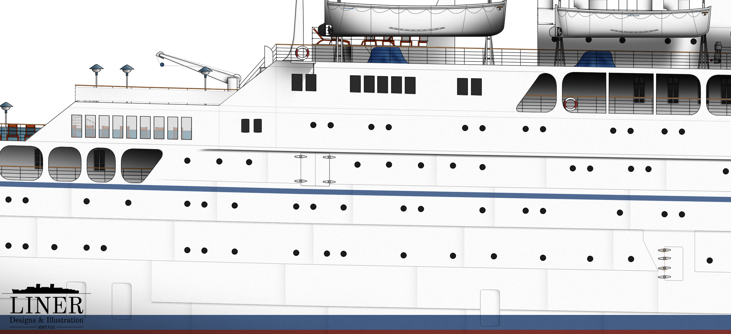 Ellinis' hull was permeated with shell doors for faster loading of passengers.