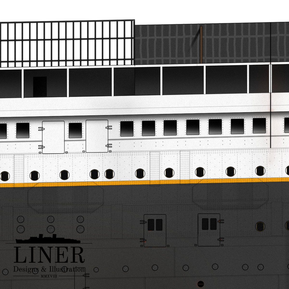 Titanic was launched with a window and sidelight arrangement virtually unchanged from that of her older sister Olympic. During fit-out many changes would eventually be made to Titanic.