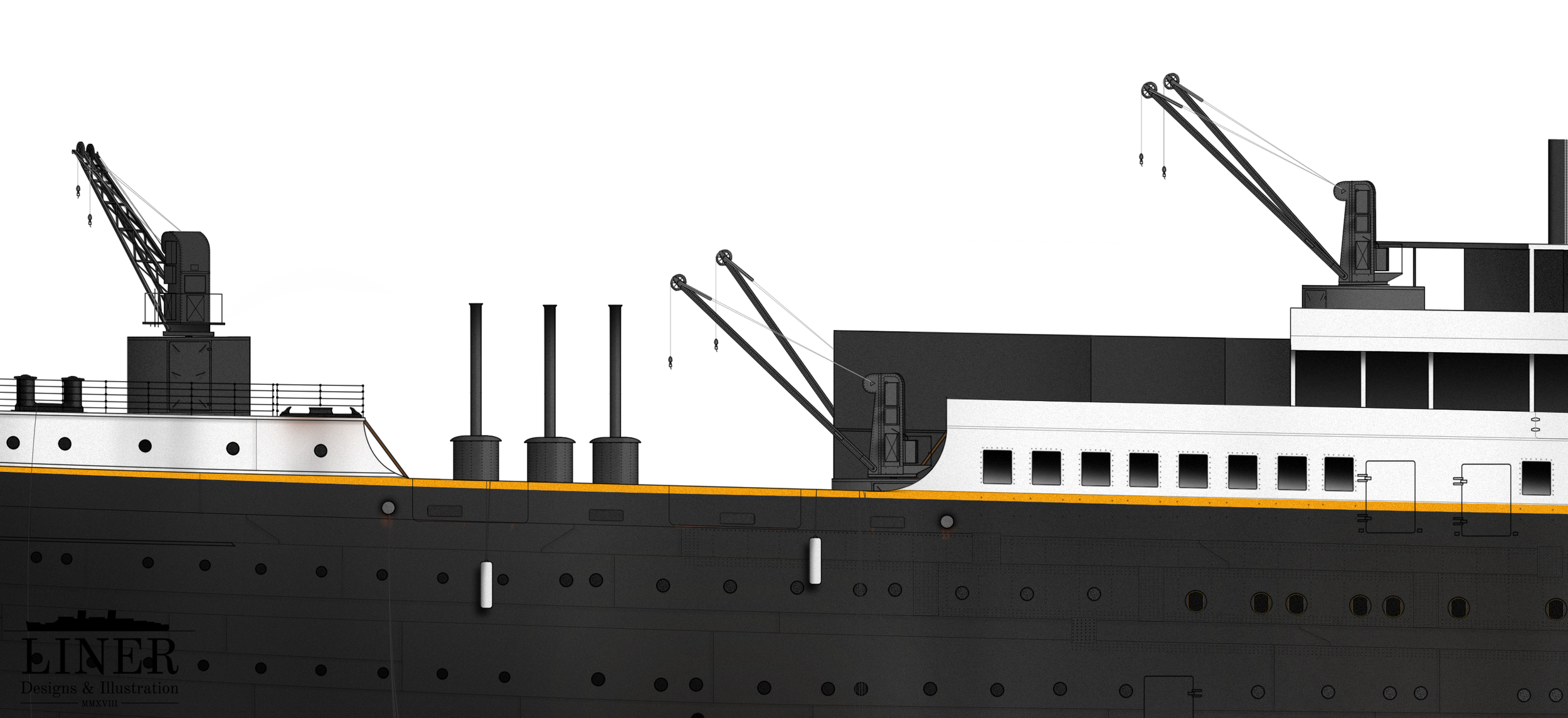 Titanic's aft promenade area. The chimneys are, presumably, from some temporary boilers or furnaces positioned on the well-deck during construction. Also note the fenders strung out over the side of the well-deck.
