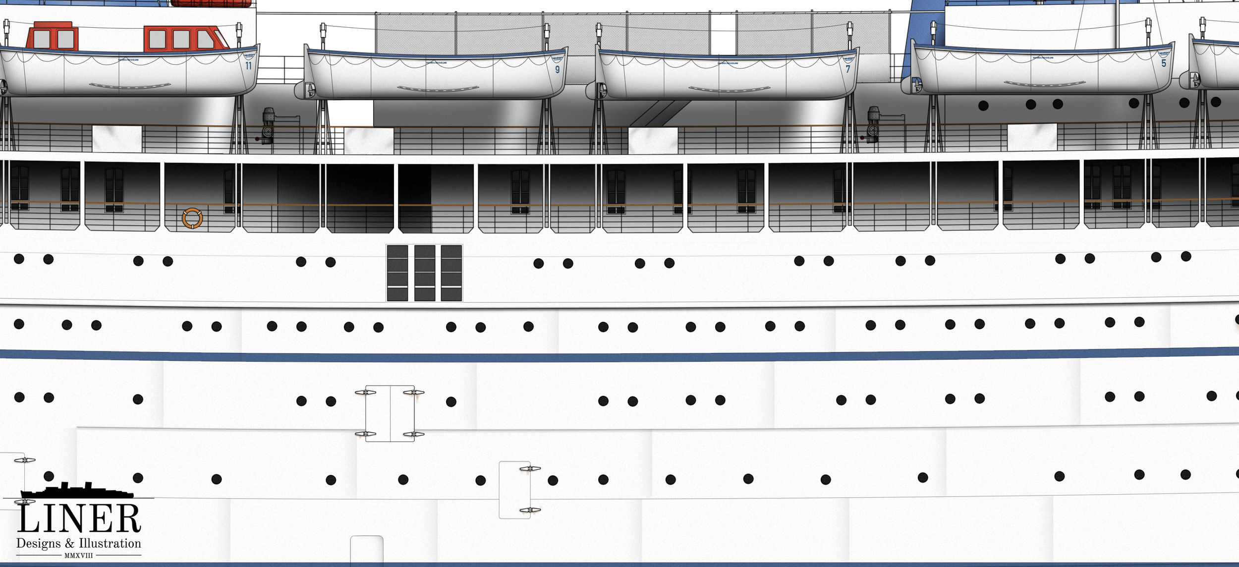 Amidships on Britanis showing her gangway doors and lengthy promenade.