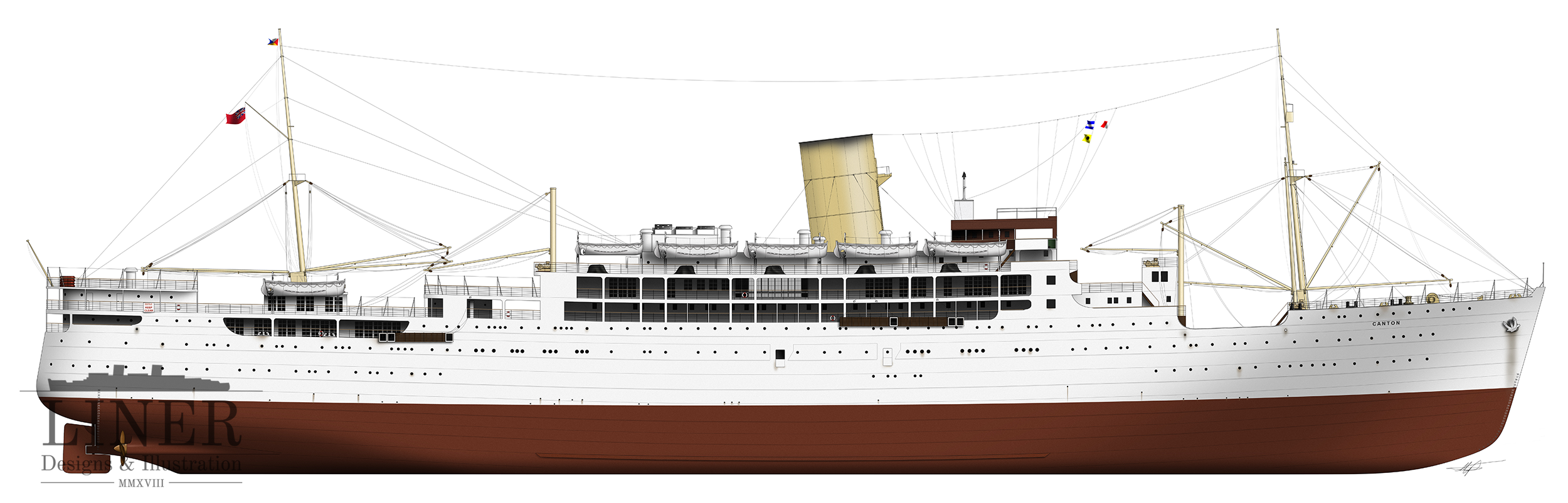 P&O's elegant RMS Canton - not a big liner by any stretch but a real beauty. This was the first ship Ken ever stepped foot on - but only in dock. Illustration by Liner Designs -  learn more.