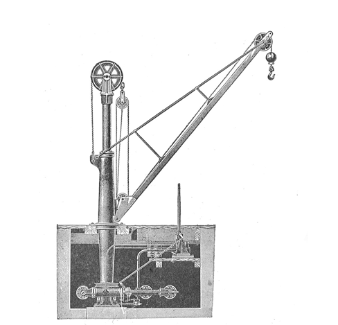 Period diagram showing the internal works of a Hydraulic Jigger of the type similar to those fitted aboard Mooltan.  Learn more