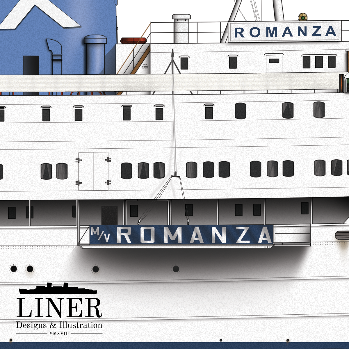 Romanza's gangway proudly bore her name for all to see. Note the curtains behind some of the windows amidships.