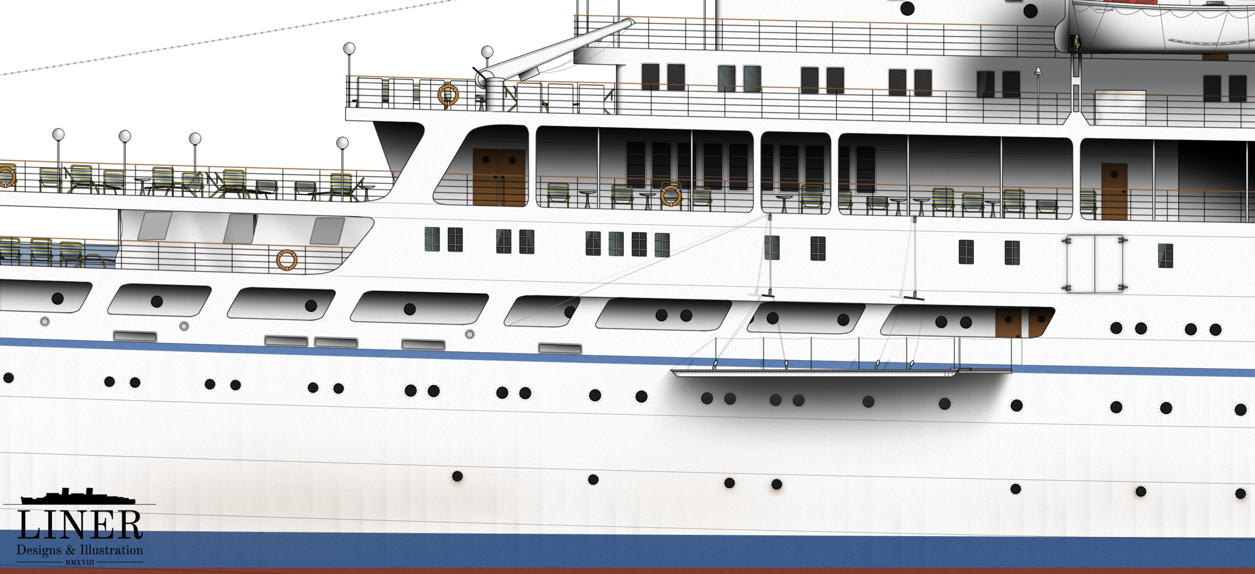 Detail shot of Liner Designs' illustration of the Chandris Lines cruise ship Amerikanis.  Learn More