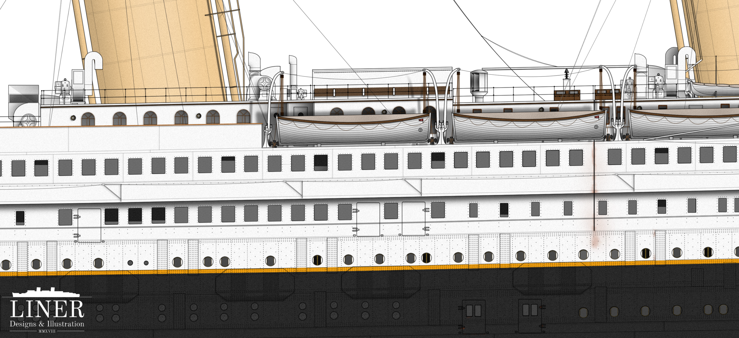 Detail shot of Liner Designs' RMS Titanic drawing.  Learn More