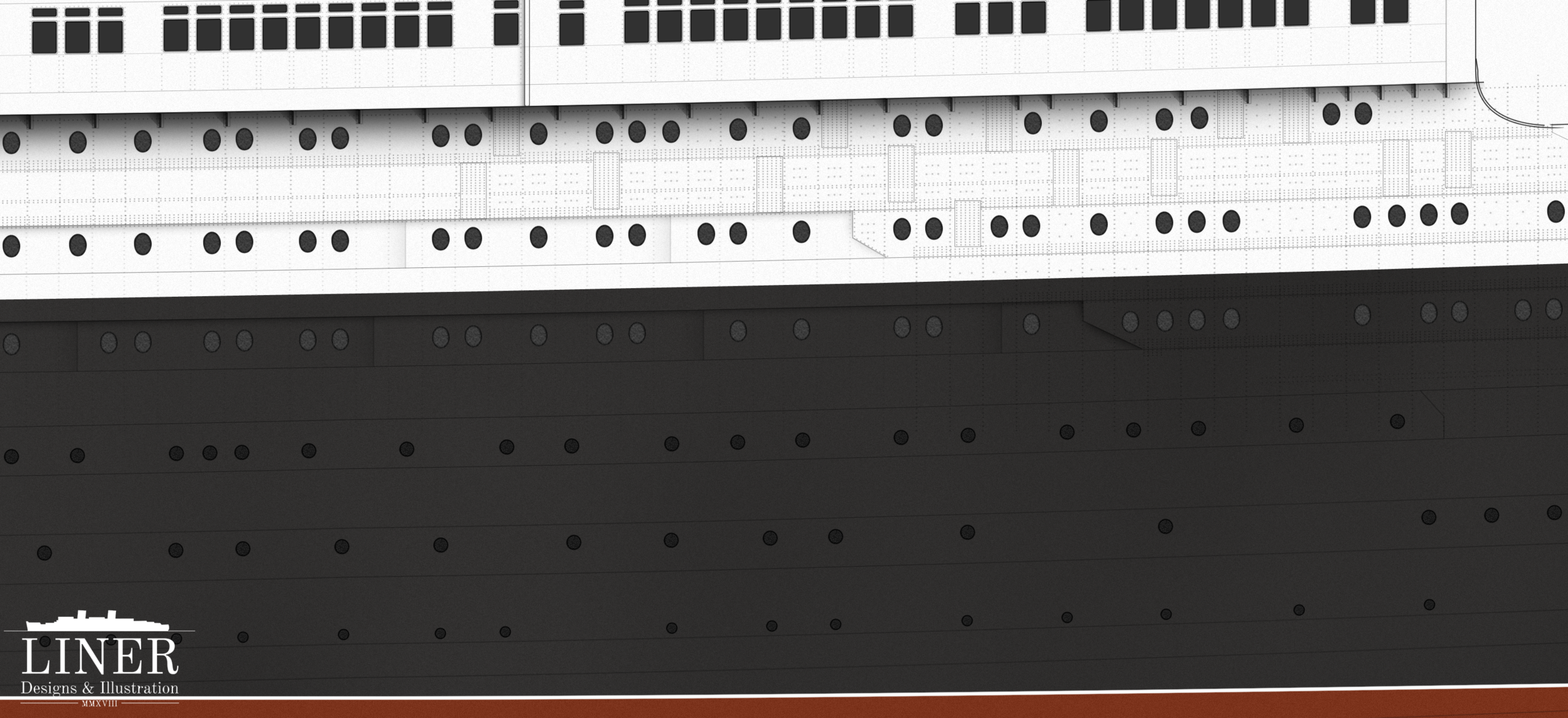 Like an immense cliff-face; Queen Mary's hull.
