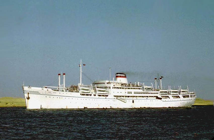 Aurelia after her first conversion in 1955 for COGEDAR line. The extent of the re-build is certainly apparent. Image from: https://ssmaritime.com/aurelia3.htm