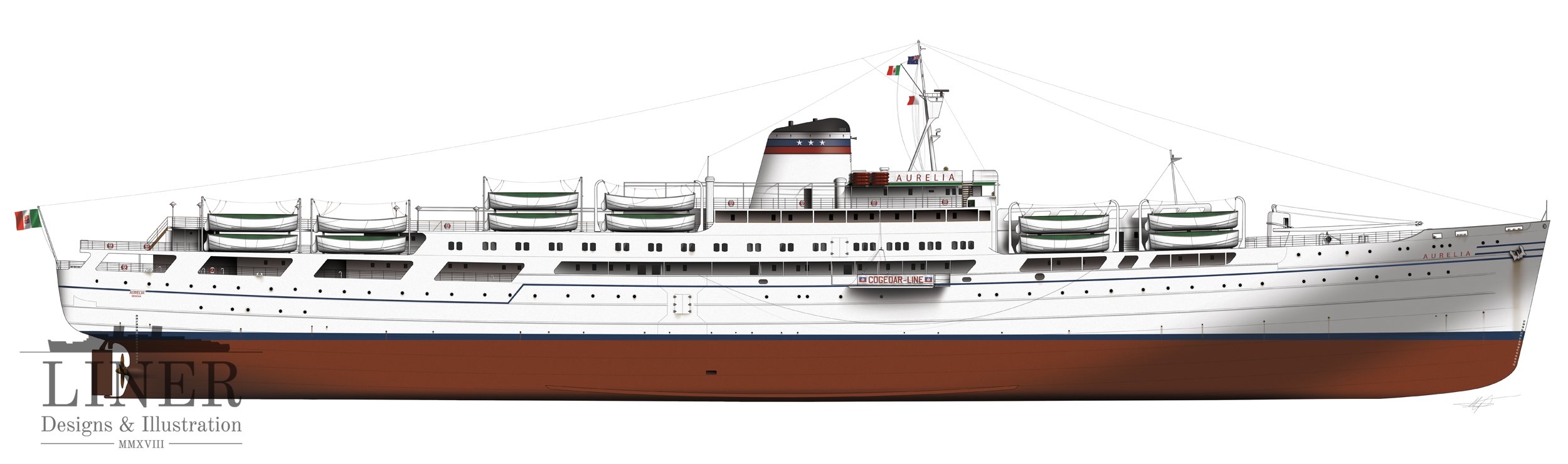 Aurelia in profile - seen here after her second re-fit in 1958 when she was further modernised. Image by Liner Designs and Illustration.  Learn more here.