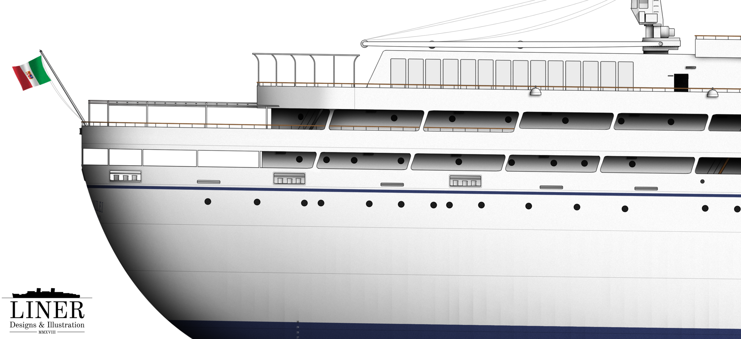 The stern 'gallery' - layers of promenade decks for passengers and crew to enjoy the sea air.