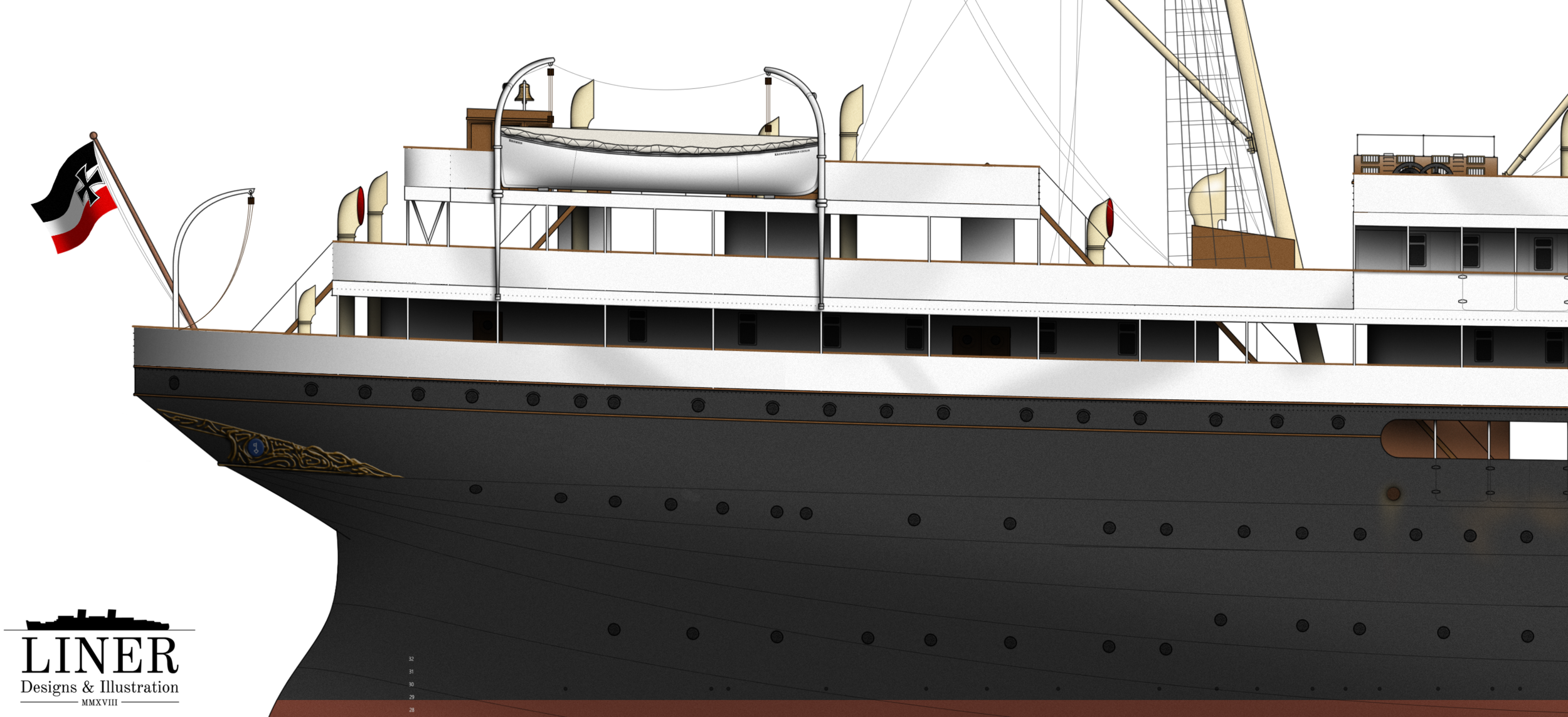 Cecilie's elegant clipper stern featured a prominent decorative gold motif.