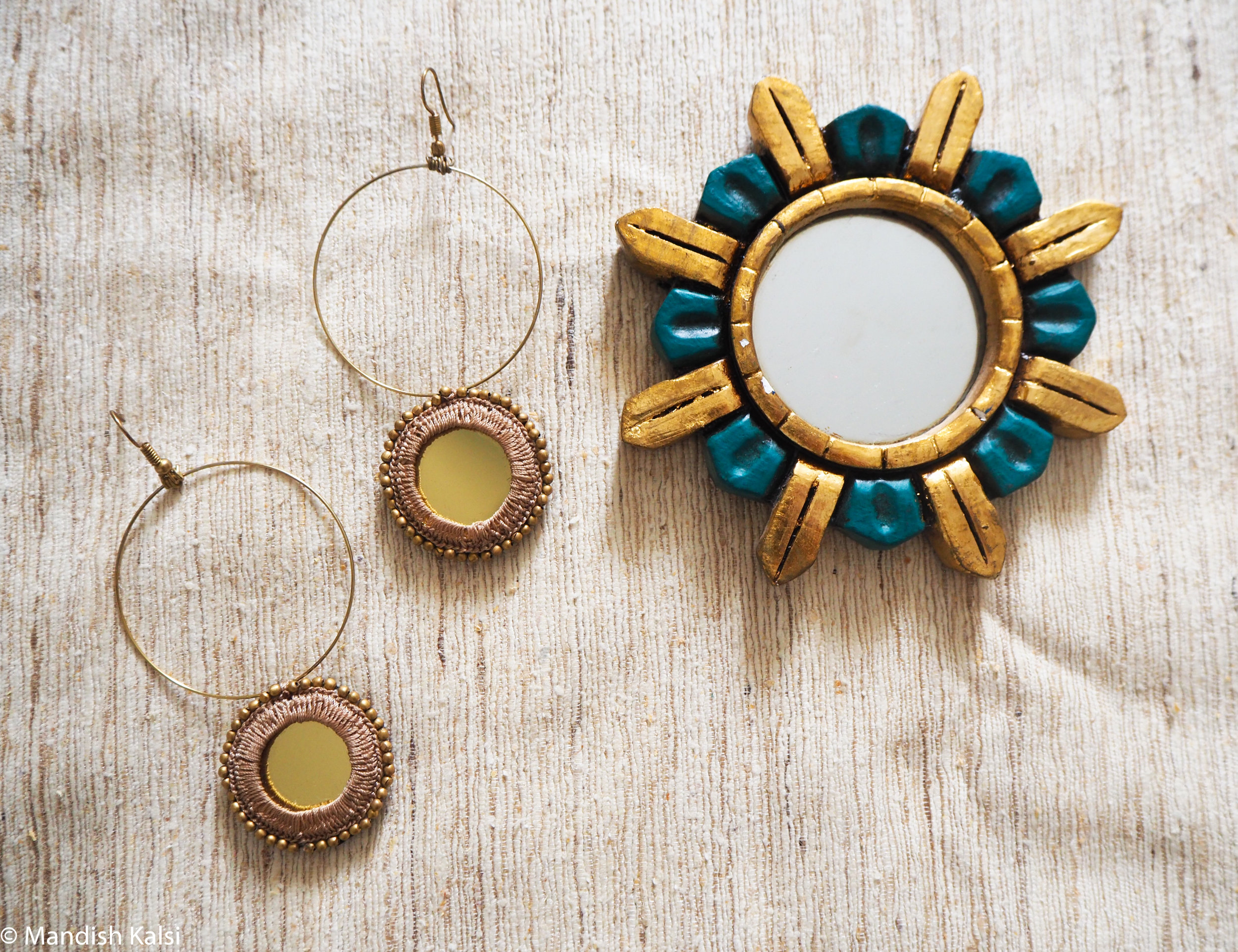 Aylah earrings  Embroidered mirrors with brass beads on brass hoops.