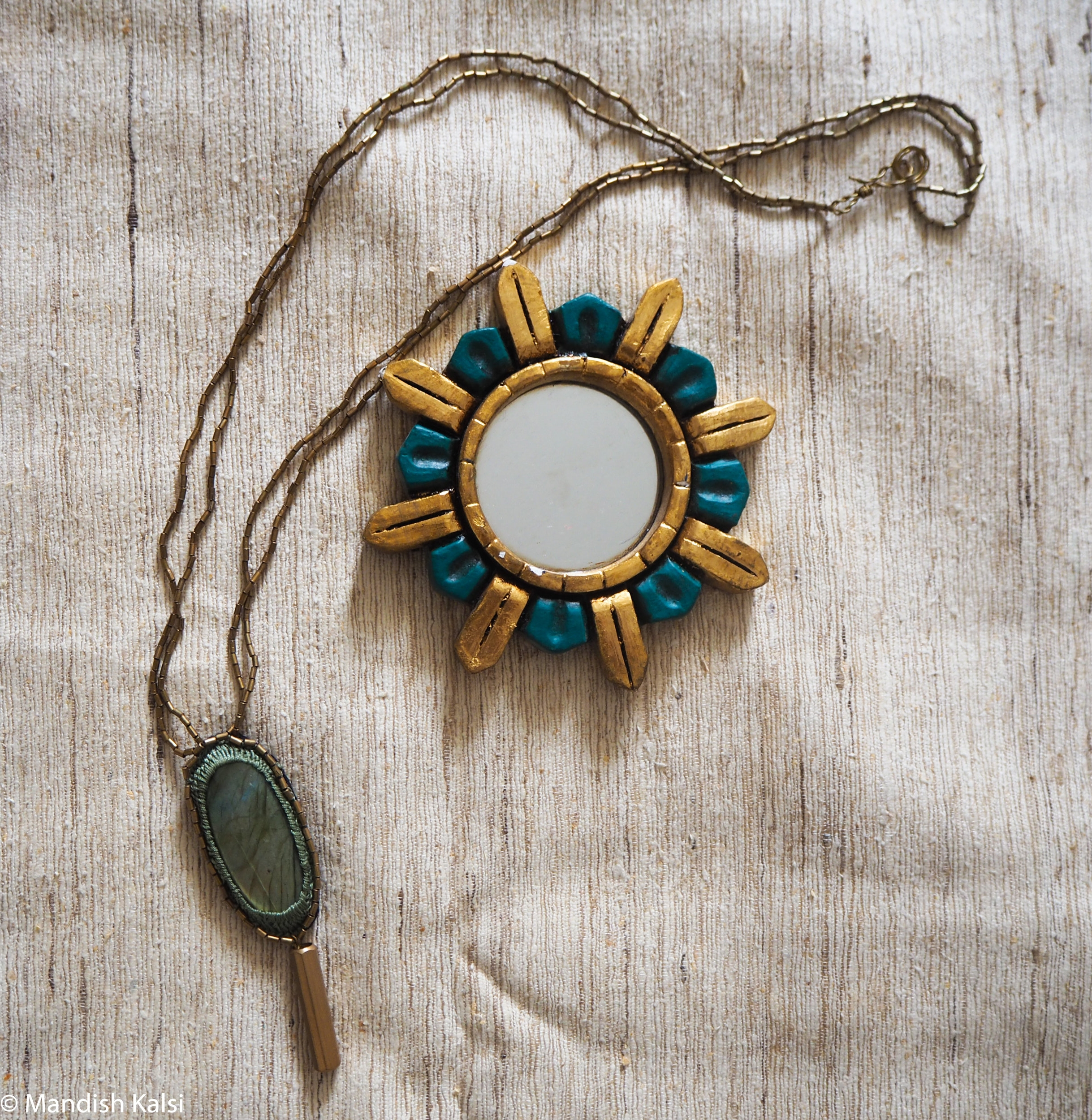 Hina pendant  Embroidered Labradorite stone with brass beaded chain.