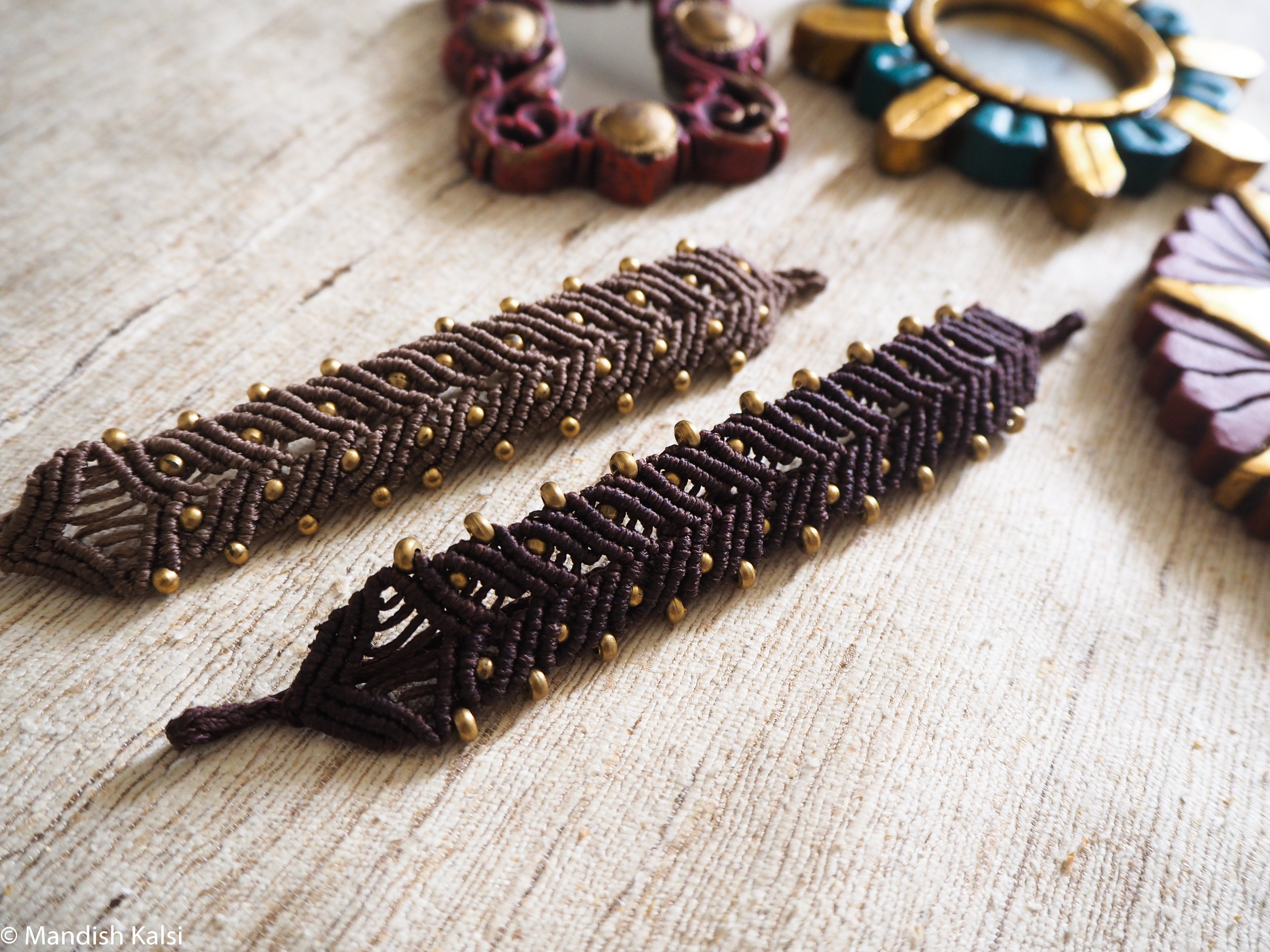 Manha bracelets  Coffee and Chocolate coloured macrame with brass beads