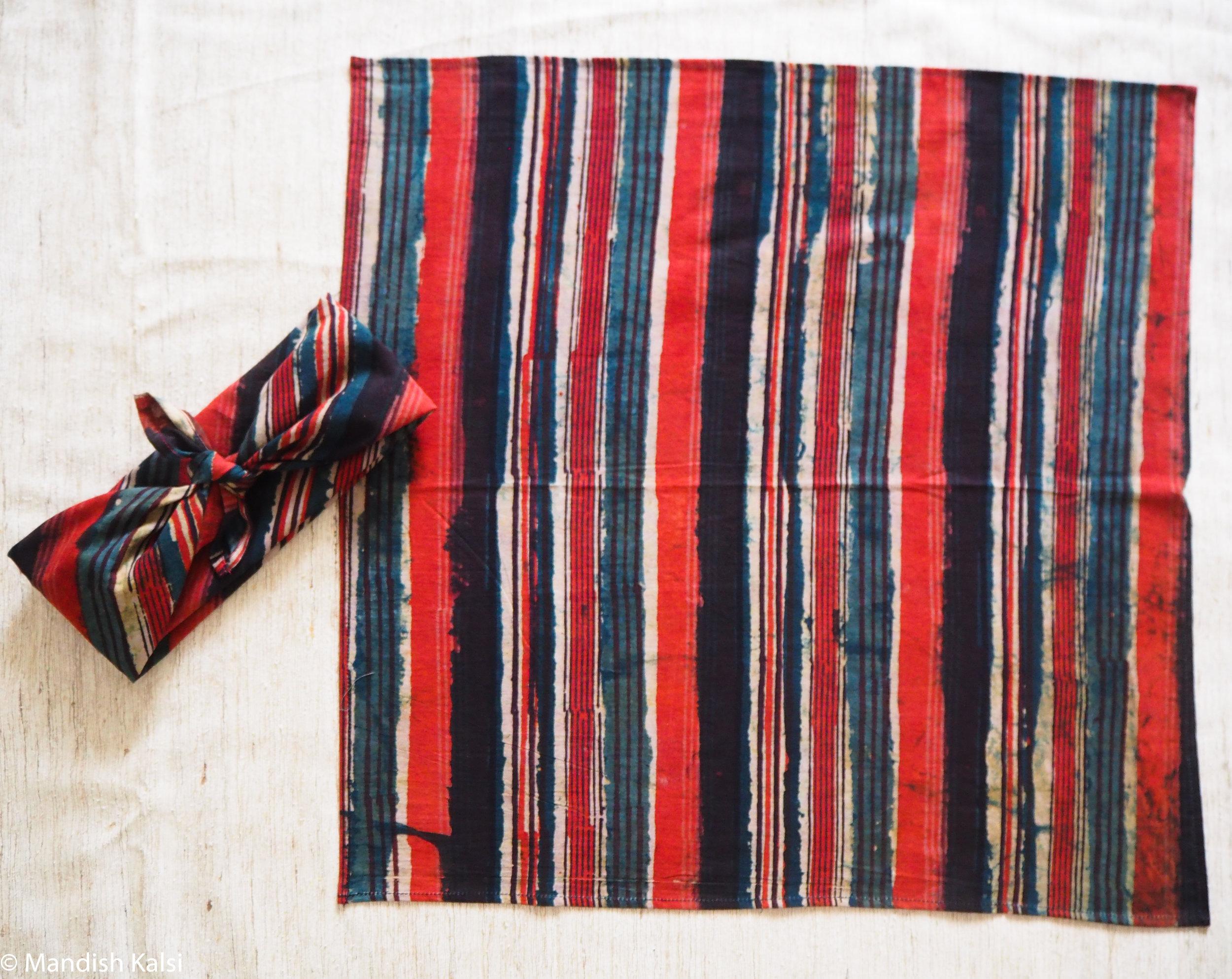 Layered multi-coloured stripe print - Headscarf / Neckerchief