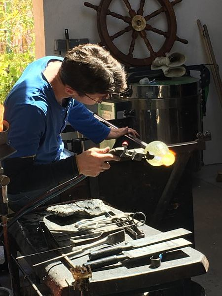 Blowing Glass at Biot Village on our tour of the French Riviera