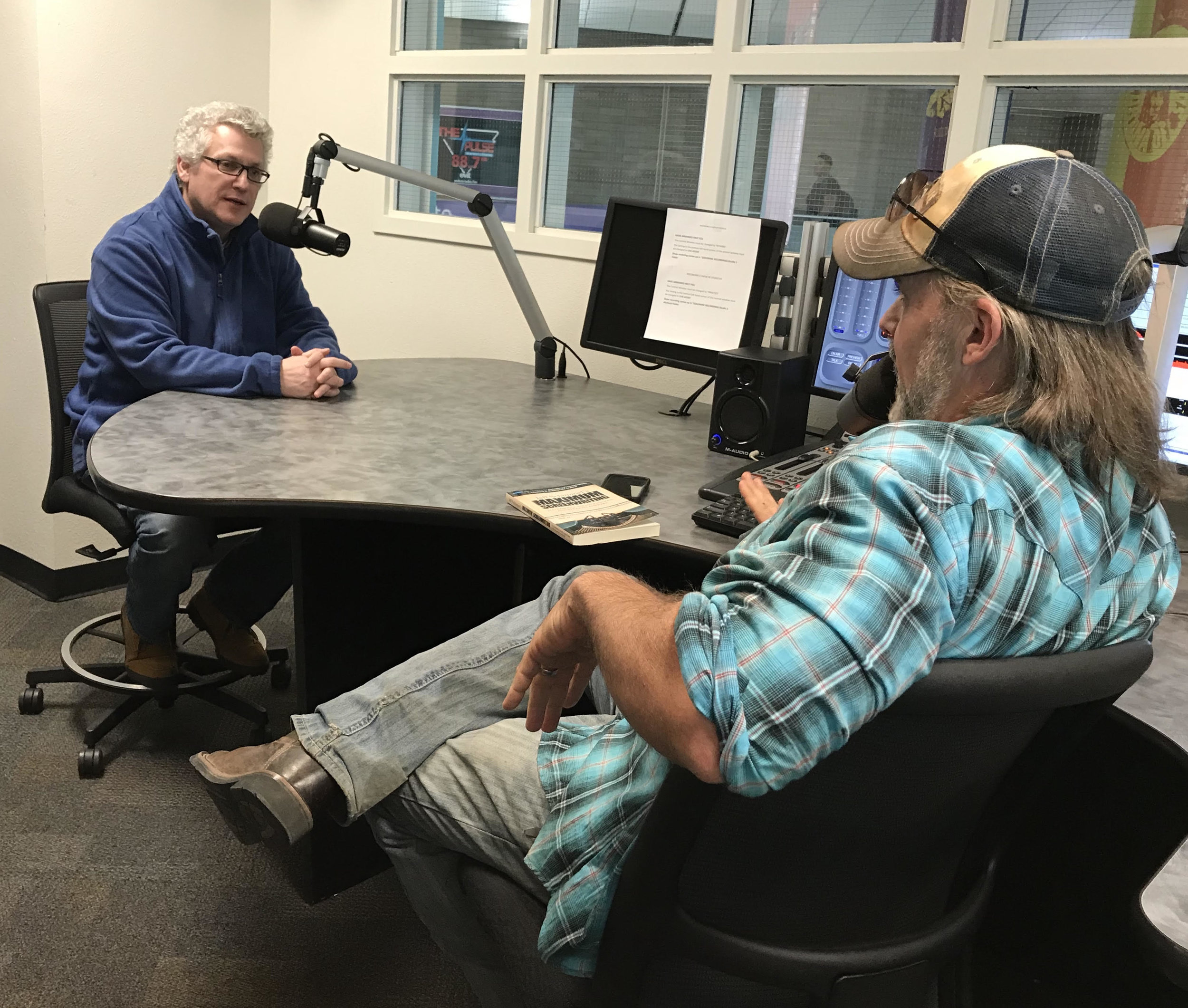 "Jeff being interviewed about his book, Maximum Screenwriting on 90.7 FM, ""Goldmine"" radio"