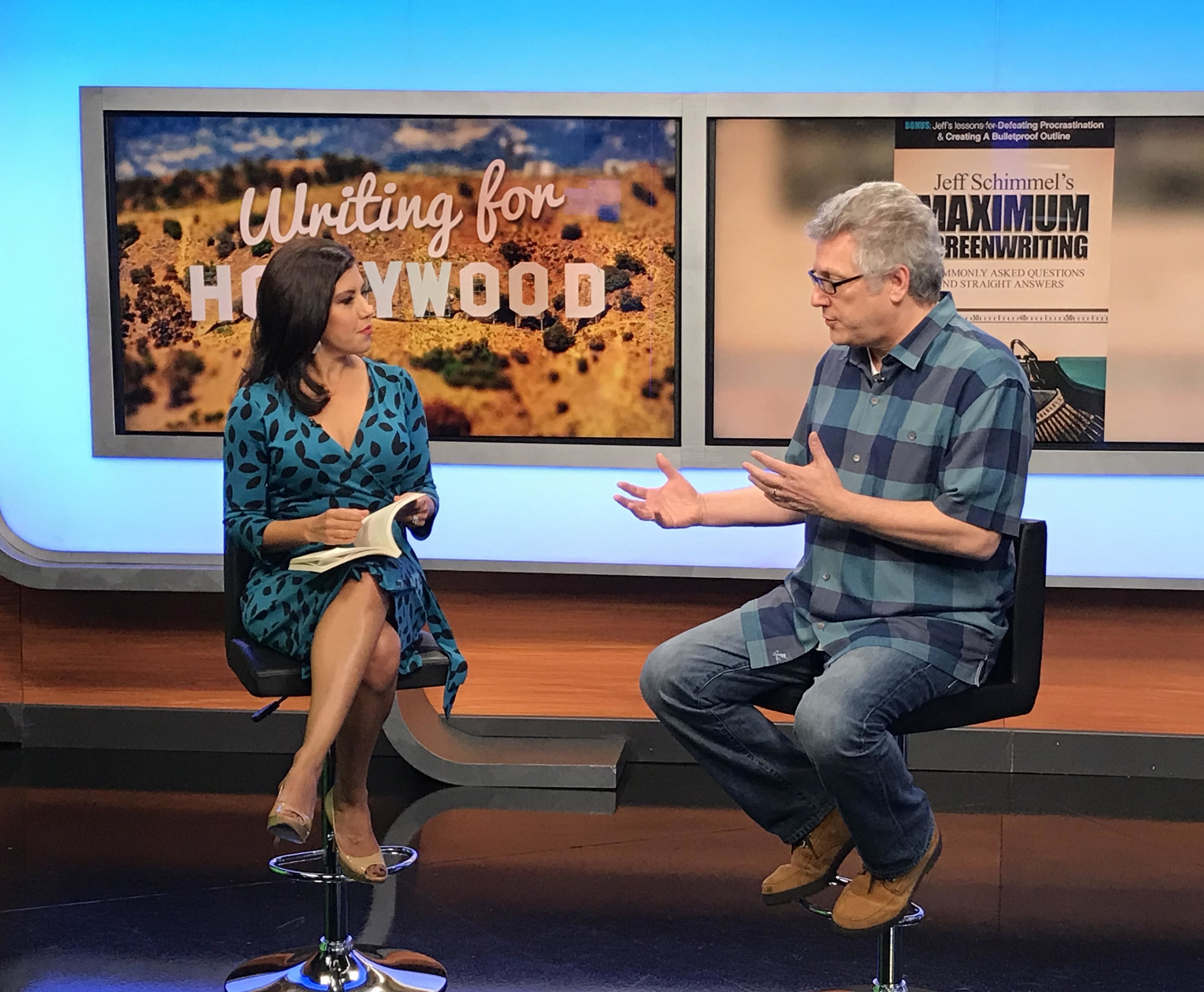 "Jeff promoting his book, Maximum Screenwriting on television show ""Good Morning Arizona"""