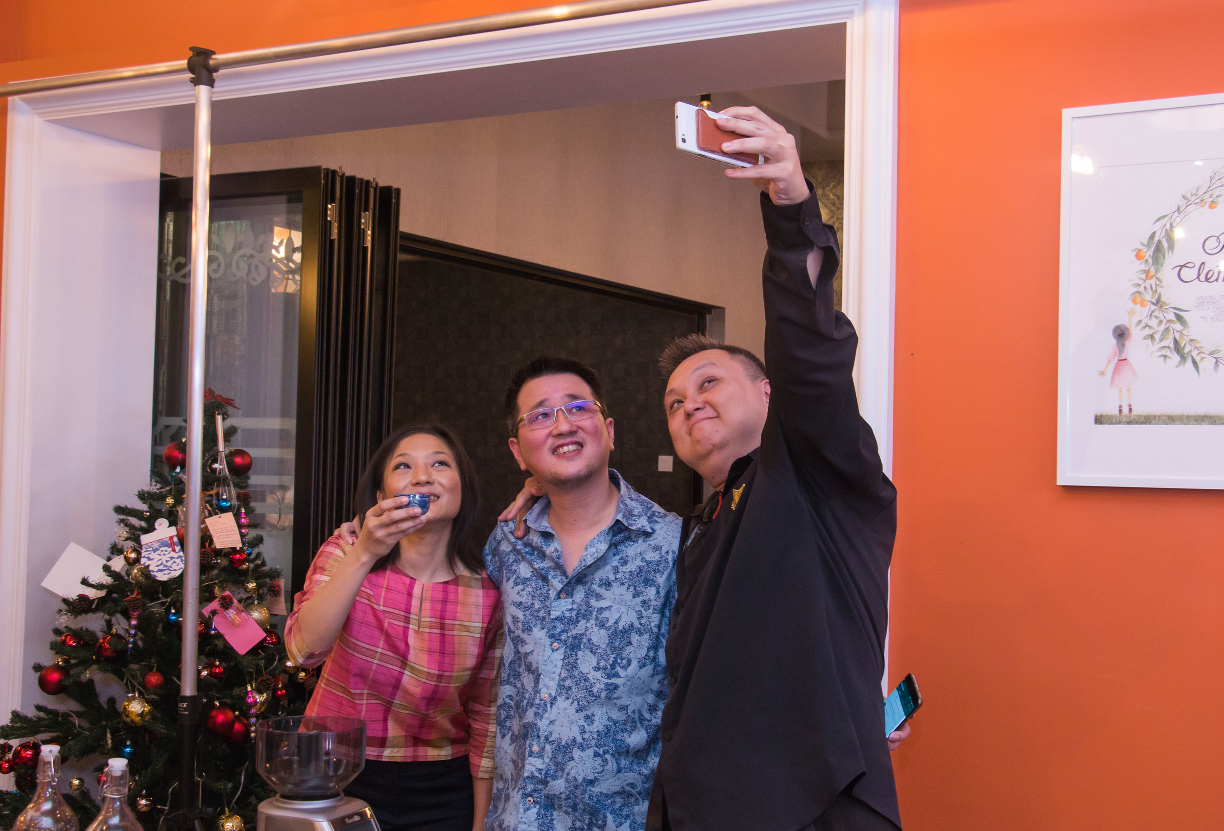 Vickey, PA, and Daniel Liew at the opening of Red Clementine.