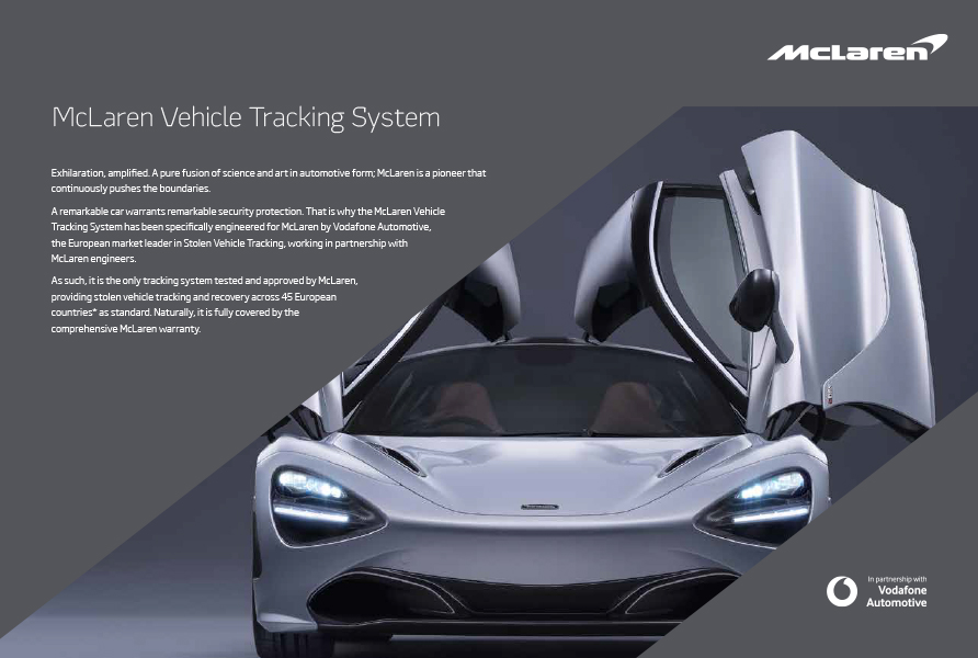 McLaren literature for Vodafone Automotive